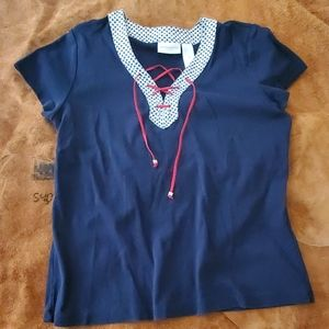 Liz Claiborne Short Sleeve Lace Up Cotton Tee